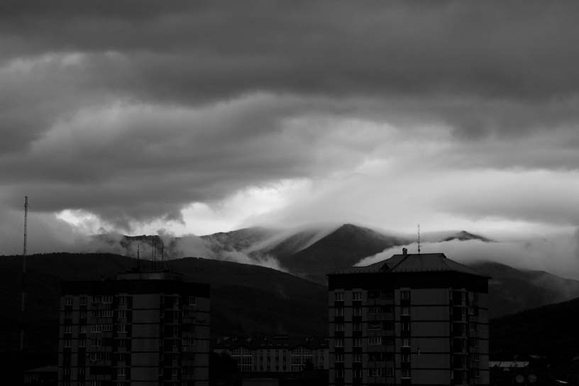 Dark clouds over Chekov's Peak, Yuzhno-Sakhalinsk