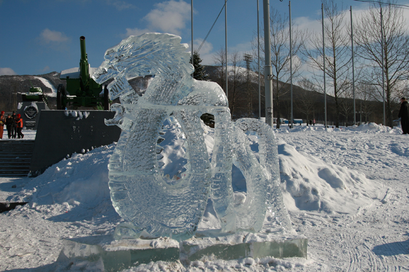 New Year Ice Sculptures, Victory Square, Yuzhno-Sakhalinsk