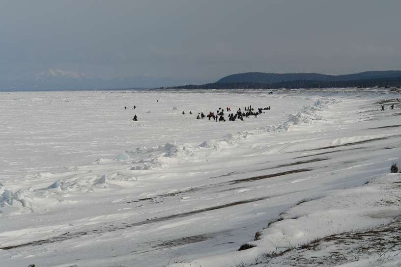 Ice fishermen, Sea of Okhotsk, Sakhalin Island