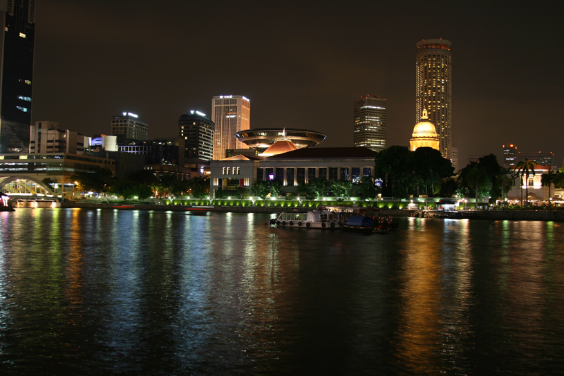 Singapore's parliament building, looking across from Boat Quay